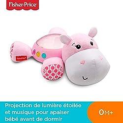 Fisher-Price Hippo Douce Nuit Peluche Veilleuse Bébé, avec Projection de Lumière Étoilée, Musique et Sons, dès la Naissance, Rose, FGG89
