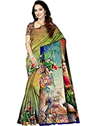 9b16c06663 SIKSH Women's Silk Satin Digital Printed Saree With Blouse Piece (Free  Size, Multi Colour