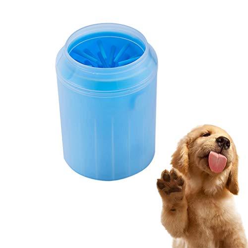 TUDUZ Pfotenreiniger für Hunde und Katzen, Pfotenreiniger Tragbarer Pet Reinigung Pinsel Tasse Hundepfote Reiniger Fuß Reinigungsbürste Fuß Waschen Tasse Für Hunde Katzen(Medium,A-Blau)