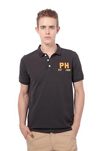 Pau1Hami1ton PH-21 Herren Freizeit Baumwolle slim Polo Hemds Herren Kurzarm Schwarz1