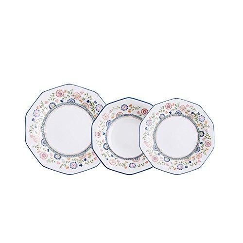 Churchill Vajilla de Loza Inglesa para 6 Personas, Forma decagonal, Decorado Floral, Porcelana, Marfil, 18 Piezas