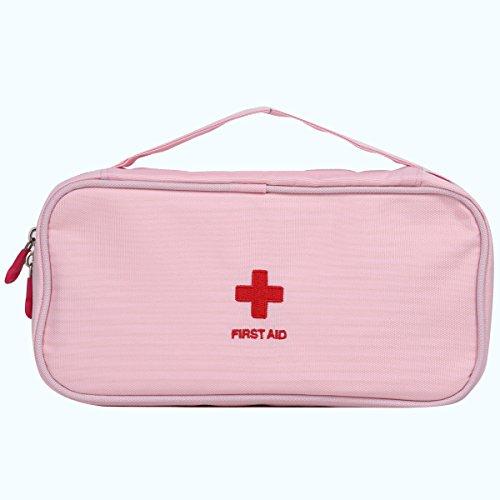 Eshow Oxford Gewebe Medizintasche für Notfälle Betreuertasche Reiseapotheke Tasche Erste Hilfe Set Medizinkoffer Sanitätstasche Rosa