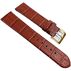 Eulit Rainbow Replacement Band Watch Band Leather Kalf Strap brown 390_25G, Abutting:16 mm