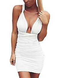Vestidos Mujer Elegante Verano Sin Mangas Sin Tirantes Espalda Abierta  Cortas Bandage Vestido Fiesta Dresses Señoras da944390e130