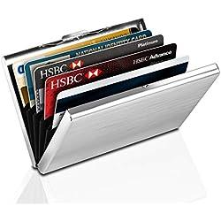 Porte-Carte de Crédit en Aluminium, Yosemy Etui de Carte de Visite Slim Métal de Blocage RFID, 6 Slots pour Vos Cartes de Crédit, 1 Pièce Argent