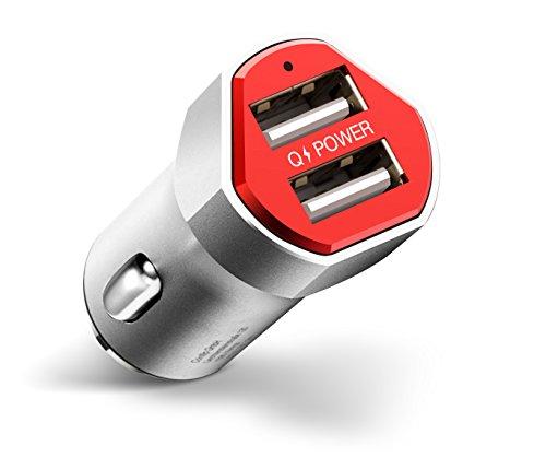 2.0 - Power 24W mini 2-Port 5V 4.8A, 2-in-1 KFZ Aufladegerät Aluminium, Zigarettenanzünder Adapter, Car Charger Autoladegerät für iPhone, iPad, Samsung Galaxy, HTC, Nexus, und mehr ()