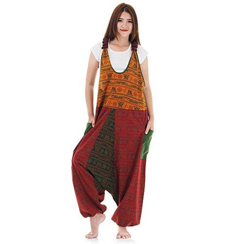 Hippie Jeans Hose Overall Haremshose Latzhose Pumphose für Damen 36 38 40 42 (Orange & Rot & Grün)