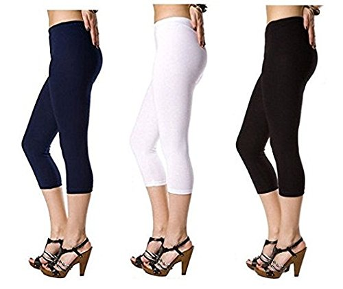 Samaira Cotton Lycra Capri Leggings, 3/4 leggings - Free Size (Black, Navy Blue, White) - Pack of 3