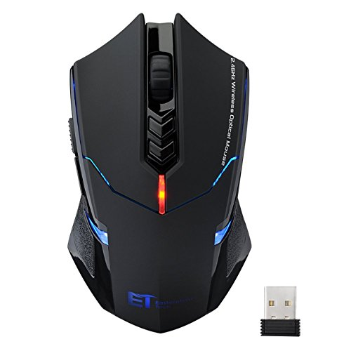 VicTsing New USB 7 Buttons Wireless Professional Game Gaming Optical Mouse Mice 800/1200/1600/2000/2400 DPI Adjustable for PC Laptop Desktop Notebook - Black Test