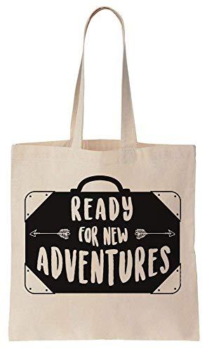 Finest Prints Ready For New Adventures Vintage Suitcase Cotton Canvas Tote Bag -