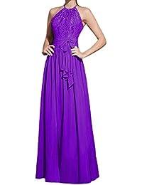 Fashion Plaza Neckholder Chiffion Spitze/Lace Kleider für Hochzeit Abendkleid D0128