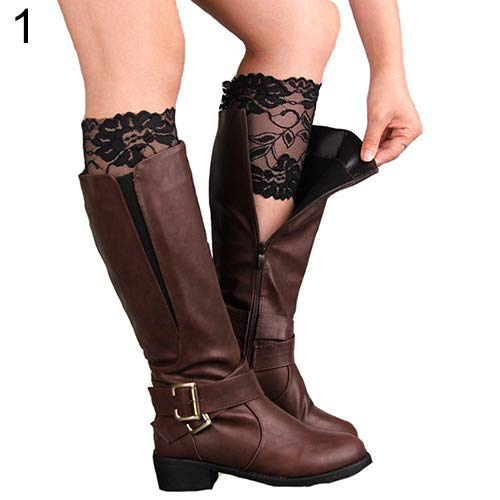 KaariFirefly Fashion Damen Mädchen Stretch Blumen Spitze Trim Stiefel Manschetten Beinstulpen Top Socken Einheitsgröße Schwarz - Schwarze Spitze Stiefel