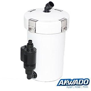 AKWADO Aquarium Außenfilter 400l/h 3-Stufen mit Filtermaterial inkl. externer Pumpe