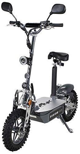 E-Scooter Roller Original E-Flux Vision X2 2000 Watt 60V mit Straßenzulassung 10 Zoll Reifen Extra groß Geländereifen Elektroroller E-Roller stärkster E-Roller mit Straßenzulassung (Grau) -