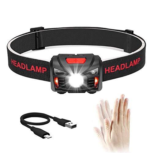 [USB Wiederaufladbare] LED Stirnlampe Kopflampe, Wasserdicht Leichtgewichts Mini stirnlampen Perfekt fürs Laufen, Joggen, Angeln, Campen, für Kinder und mehr