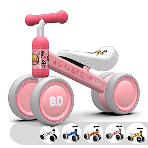 KORIMEFA Baby Balance Bike Bicycle Baby Walker Ride on Toys for 1 Year Old Boys Girls 10 Months-24 Months Baby First Bike Birthday Gift Baby Bike Four Wheels Toddler Infant Bike (Pink Duck)