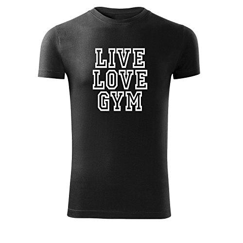 Herren Shirt live love gym schwarz & weiß Motiv - T-Shirt Poloshirt mit Motiv - Neu S - XXL Schwarz