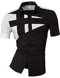 Jeansian Hombre Camisas Moda Manga Larga Men Fashion Slim Fit Casual Short  Sleeves Shirts 8360 0b631478008ca