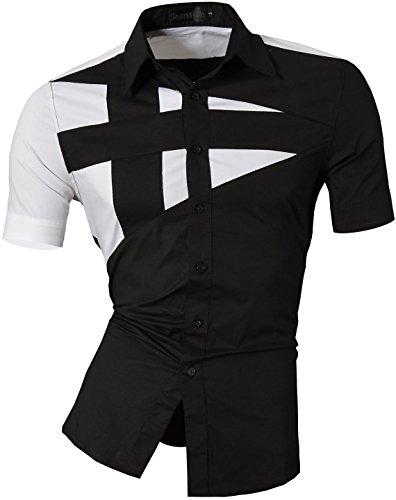 Jeansian Camisa De Hombre De Manga Corta Moda Men Fashion Slim Fit Casual Short Sleeves Shirts Z002 Black S