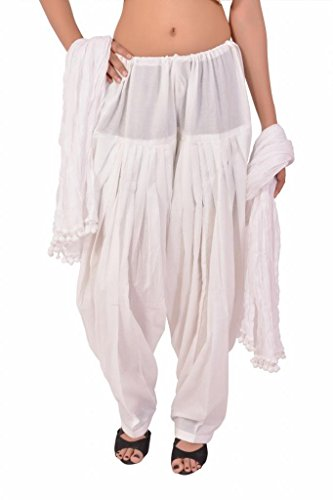 Stylenmart Women\'s Cotton Semi Patiala Pants with Dupatta Set (STMASEPA078611_White_Free Size)