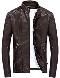0c8d7035d79e1 Manteau À Manches Longues pour Hommes Slim Fit Veste Montant Col en Mode  Chic Cuir Automne Hiver Vintage Mode…