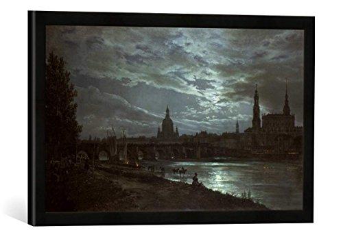 ohann Christian Clausen Dahl Blick auf Dresden bei Vollmondschein, Kunstdruck im hochwertigen handgefertigten Bilder-Rahmen, 60x40 cm, Schwarz matt ()