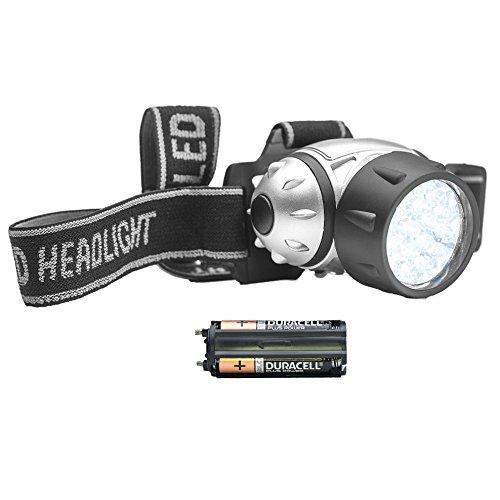 STAY Active 21 LED Scheinwerfer mit 4 Lichtmodi | Wasserbeständige Outdoor-Taschenlampe für Laufen, Camping, Radfahren | Langlebig, leicht und verstellbar für Läufer | mit Batterien (Silber)
