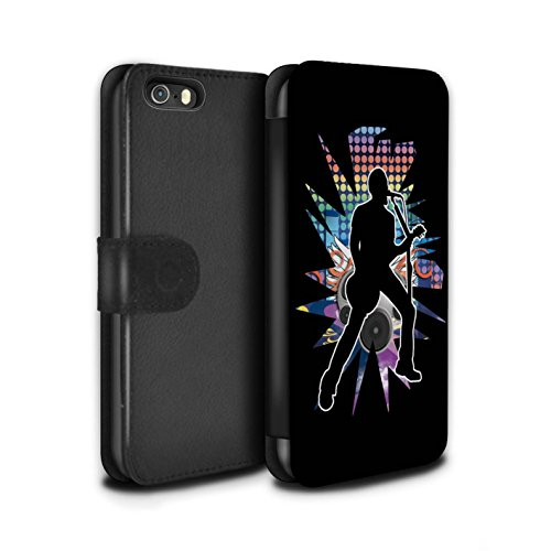 Stuff4 Coque/Etui/Housse Cuir PU Case/Cover pour Apple iPhone SE / Hendrix Noir Design / Rock Star Pose Collection Chanteur Noir