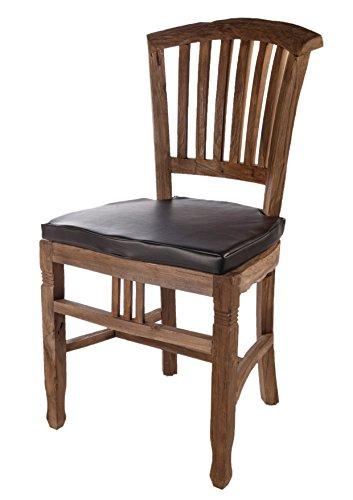 SalesFever Holz-Stuhl aus recyceltem Teak-Holz mit Sitzkissen aus Kunstleder schwarz 50x95 cm | Oceandrift | Rustikaler Teakholz-Stuhl aus Massiv-Holz Natur 50cm x 95cm -