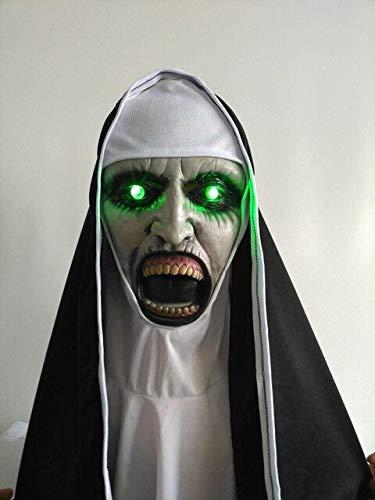 Die Nonne Horror Maske LED Cosplay Valak Scary Latex Masken mit Kopftuch Schleier Kapuze Integralhelm Kostüm Halloween Prop, mit LED