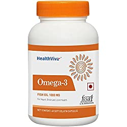 Healthviva Omega 3 Fish oil 1000mg with 180mg EPA and 120mg DHA, with essential fatty acids, for heart, Joint and Brain health, 60 softgels