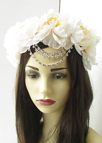 Grande Ivoire Argenté Chaîne Fleur Bandeau Cheveux Couronne Rose Festival Guirlande 474 * exclusivement Vendu par Starcrossed Beauty *