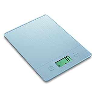 Exzact Electronic Kitchen Scale, EX9150 Super Slim (1.4 CM) Food Weighing Scale/Digital Scale - Tempered Glass Platform - Touch Button - Battery Included - 5kg/11lb (Silver)