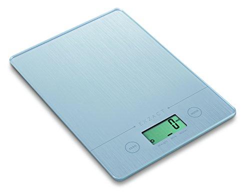 EXZACT 1.4 CM bilancia da cucina elettronica super sottile con pedana in vetro, Dimensione del prodotto: 19,4 x 14 x 1,4 centimetri.  Misura fino a 5 kg di capacità (11 lb), ad alta precisione con la divisione graduata 1,0 grammi (0,1 once), con 2 mo...