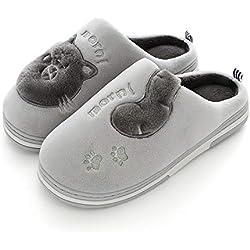 Zapatillas de Estar por Casa Mujer Invierno Interior Zapatos Calido Pantuflas Antideslizante Slippers Calzado Gris 44/451=EU43/44