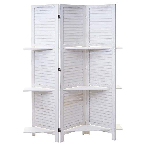 Mendler Paravent Yvelines, Trennwand Raumteiler mit Regalböden 170x125cm, Shabby Look ~ weiß/weiß