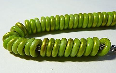 14g (40) x 10(mm) Large trou Rondelles Link connecteur Spacer Verre O Tchèque Perles pour cuir–Bronze avec revêtement vert–Z04