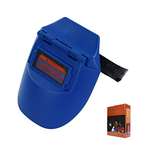 Oscurecimiento automático del casco de soldadura Molienda de arco Soldadores Máscara Cubierta con solapa solar Medio casco Argón Soldadura de arco,Blue