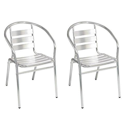 2 Stück Mojawo® Stapelstuhl Campingstuhl Gartenstuhl stabile Aluminium Silber Bistrostühle stapelbar Alustuhl Balkonmöbel Gartensitzmöbel Küchenstuhl - 2 Stück Metall-stuhl