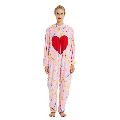KiKa Monkey Flanell-Karikatur-Tier-Neuheit-Weihnachts Cosplay Pyjamas (XL, Rose) (Hearts Tween Kostüm)