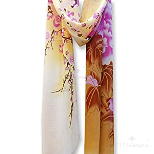 LS33-Soft & Translucent Chiffon Silky Feeling Scarf with Oriental Patterns on-peony and bird-yellow&brown