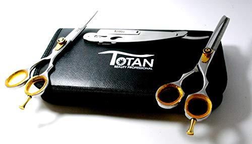 Totan Tss-568 Argent élégant Ensemble de ciseaux de coiffeur – Haute Qualité Sharp Razor Edge 15,2 cm Ensemble de ciseaux de coiffure