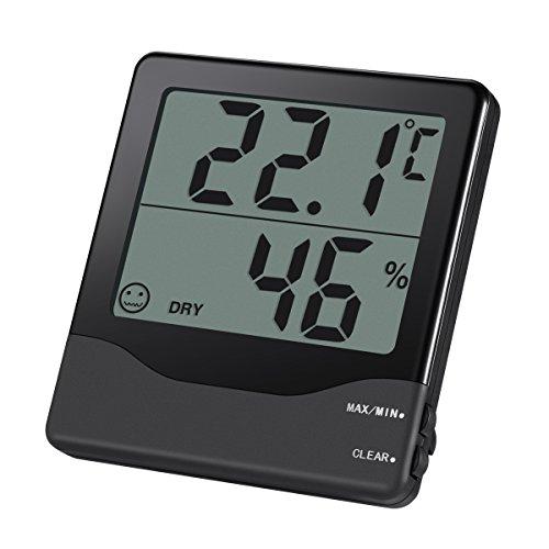 Amir Indoor Digital Hygrometer Thermometer, Digitales Thermo-Hygrometer Luftfeuchtigkeit Messer Thermometer Hygrometer mit Min/Max und LCD Schirm für Schlafzimmer, Büro, Wohnzimmer, usw.(Schwarz)