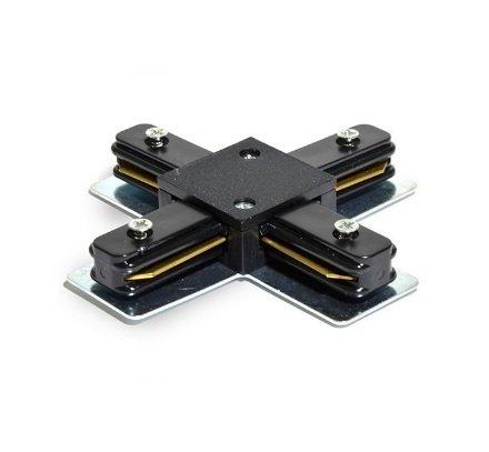 LineteckLED® E09.007.04 Innesto giunzione a forma di CROCE a 4 ingressi per binario elettrificato monofase rinforzato colore NERO