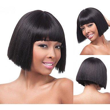 HJL-bob synth¨¦tique perruques cheveux raides courte perruque blonde pour les femmes perruques naturelles avec frange sw0483 , multicolor