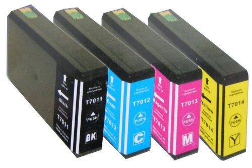 4 Cartouches d'encre xL pour cartouches d'encre epson workforce pro wP 4015 4015DN-wP-wP-wP - 4025 4025DW wP - 4035 wP-wP - 4095 4515 wP 4515DN 4525–wP-wP-wP - 4525DNF 4535 4535DWF wP-wP-wP - 4545 4545DTWF 4595 1xblau wP - 1 x noir, 1 x 1 x rouge, jaune de rechange compatible epson t7011 t7012 t7013 t7014