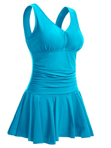 ekleid Plus Size Geblümt Figurformender Einteiler Badeanzug Swimsuit Blau EU 46-48 / X-Large ()