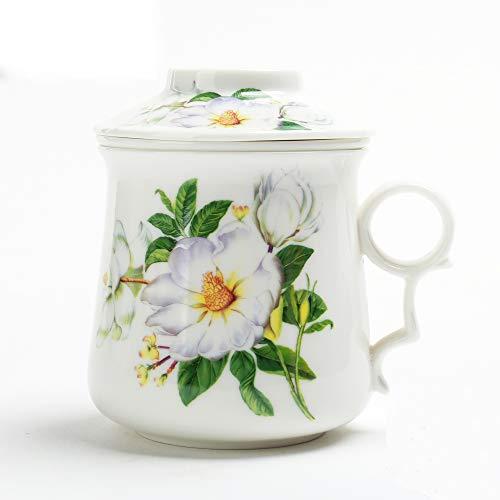 Japanische Teebecher (410 ml) mit Sieb und Deckel, Ornament Infuser, Infused Tee-Cup Set, Brewing Filter, große steilere Männer Mom Home Decor, Spülmaschinenfest Bleifrei, Küchenmaschine Teamug