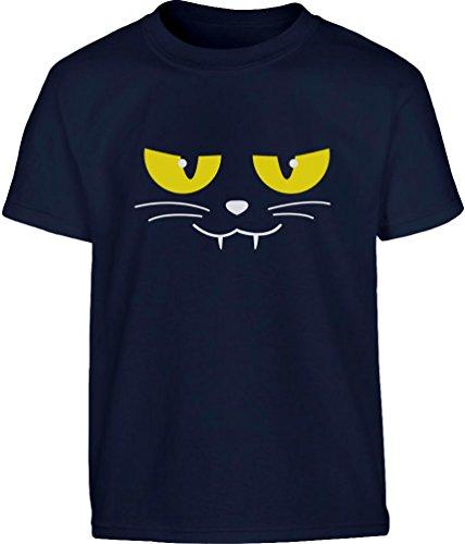 Evil Cat Face - Katzengesicht Halloween Kleinkind Kinder T-Shirt - Gr. 86-128 2T (Kostüm Cat Face Ideen)