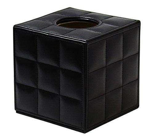 JustNile Simple Design Cuir en cuir noir Housse en tissu carré Carré cube Titulaire de boîte en tissu pour hôtel, chambres d'hôtes, bureau, maison, toilettes de salle de bain